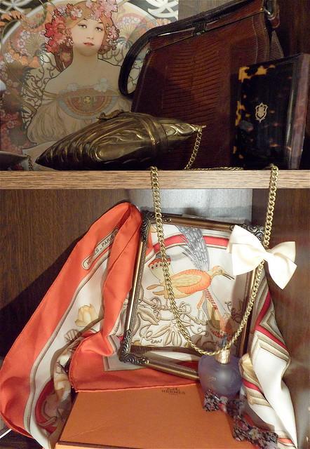 "My vintage ""walk-in closet"". November 2011, Paris.  (FOR SALE: Hermès ""Caraibes"" silk scarf + genuine tortoise shell ""dance card""-book)"