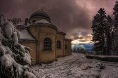Intervention divine {Happy New Year} {EXPLORED} (Girolamo's HDR photos) Tags: winter light sky sun sunlight snow france art nature architecture fairytale clouds canon french landscape photography chapel fisheye savoie 8mm hdr rayoflight girolamo photomatix samyang tonemapping canoneos50d pugny cracchiolo omalorig wwwomalorigcom