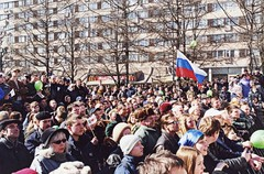 (varfolomeev) Tags: 2001 russia moscow politics rally journalist opposition