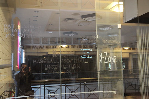 """Lettering residue on the glass of """"K Zone"""""""