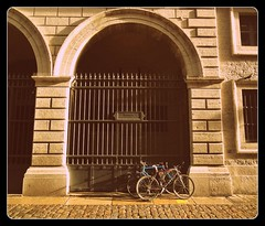 The Impenetrable Secret That Lies Behind The Rusty Gates (Edgar Chambon 94) Tags: camera winter light shadow brown black france detail building art texture abandoned love window colors lines mystery composition contrast dark lost outside photography bars gate holidays iron looking shot emotion lyon pavement stones sony bricks columns illumination rusty bikes arches creation filter edgar frame winding curious archway embrace cobbles effect movements cyber compact 2012 imagery endless values 1960 inquisitive nameplate vibe vaccation chambon