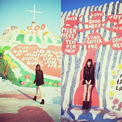 Christina at Salvation Mountain, CA. Dec 2011 (kevin russ) Tags: valencia square squareformat salvationmountain kevinruss iphoneography christinarosetran instagramapp uploaded:by=instagram