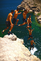 Mark Jump Sequence (airkev) Tags: las vegas lake jump kevin desert cove mark nevada christopher nelson canyon nelsons eldorado multiplicity landing callaway sequence clone hdr placer mohave sequentials sequences sequential culkins chronophotography airkev airkevqb1yahoocom airkevqb1