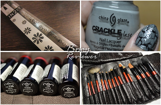 In2It Eyeliner, China Glaze Crackle Nail Lacquer, Nyx Lippies, Props makeup brushes