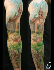 Church cemetery angel christian sleeve tattoo by Jackie Rabbit (Jackie rabbit Tattoos) Tags: california ca dog flower color sexy rabbit beautiful tattoo vintage nude skull star 3d colorful artist heart good infinity feather best anchor chico tat sleeve realistic eyeofjade churchcemeteryangeljackie birdchristiansleevetattoojackierabbit