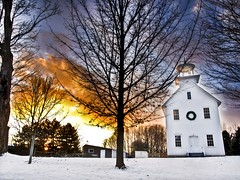 Fire in the Sky (explored) (MomoFotografi) Tags: sky sun snow canada tree church clouds jaune fire soleil flickr day quebec explore québec neige blanche nuages paysage campagne arbre église hdr anglican mystic farnham estrie easterntownships flickrexplore protestante explored hivernal anglicane tonwships