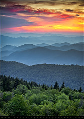 Blue Ridge Parkway Sunset - The Great Blue Yonder (Dave Allen Photography) Tags: blueridgeparkway sunset mountains appalachians layers blueridgemountains scenic landscape sunrise appalachian wnc northcarolina nature outdoors nc daveallen ridges peaks cowee sunsetsky landscapes nikon usa d700 westernnorthcarolina photography daveallenphotography carolina appalachia southernappalachians valleys seasons sky trees summer hendersonville brevard asheville highdynamicrange hdr orange mountain red blue mygearandme mygearandmepremium mygearandmebronze mygearandmesilver mygearandmegold mygearandmeplatinum mygearandmediamond tplringexcellence dblringexcellence