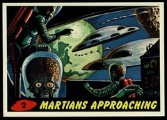 "Mars Attacks #2 ""Martians Approaching"" (cigcardpix) Tags: mars vintage advertising comic graphic ephemera fantasy horror sciencefiction attacks reprint tradecards gumcards"