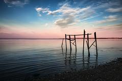 Serene Shoreline (Sky Noir) Tags: sunset sky usa moon seascape water clouds river photography virginia pier us twilight dock scenery unitedstates dusk unitedstatesofamerica scenic serene ripples lowtide waterscape relections bybilldickinsonskynoircom