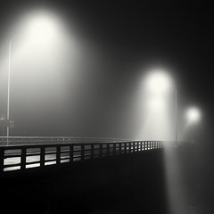 empty stage (StephenCairns) Tags: road bridge blackandwhite bw black texture japan fog night fence lights stage smooth rail explore  handrail anticipation  gifu     emptystage    30mmsigmaf14 canon50d stephencairns settingthestage 50dcanon