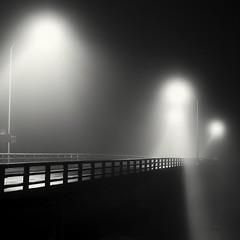 empty stage (StephenCairns) Tags: road bridge blackandwhite bw black texture japan fog night fence lights stage smooth rail explore  handrail anticipation  gifu     emptystage    30mmsigmaf14 canon50d stephencairns settingthestage 50dcanon