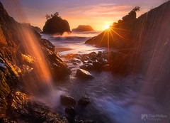Ocean Waterfall Oregon Coast (Chip Phillips) Tags: ocean winter sunset sea usa sun beach oregon star coast waterfall pacific northwest stack sunburst