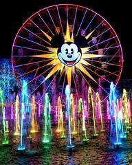World of Color End (Karon) Tags: california light vacation music reflection water spectacular fun disney ferriswheel fountains paradisepier disneycaliforniaadventurepark worldofcolor