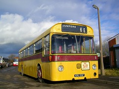 New arrival. (Renown) Tags: heritage buses transport corporation stokeontrent preserved staffordshire bournemouth rbw willowbrook coaches daimler preservation src6 yellowbuses roadliner singledecker duplemidland perkinsv8 fantasyfleet reliancebusworks srp8 westofenglandtransportcollection kru55f