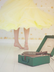 Never miss a chance to dance.... (Kimberly Chorney) Tags: girl yellow dancing naturallight twirl spinning selftimer recor vintagerecordplayer yellowpromdress