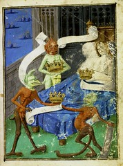 Pride---man in bed with Crown surrounded by Demons who also clutch Crowns. France c.1500-25. Harley 3183. BL (tony harrison) Tags: death drawing devils hell apocalypse medieval satan prints middleages demons engravings etchings judgementday illuminatedmanuscripts