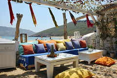 Panormos Beach (duqueros) Tags: colour beach strand island europa europe lounge insel pillow greece griechenland mykonos kissen panormos duqueiros musictomyeyeslevel1