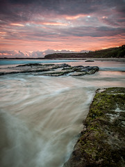 Rushing back (StephEvaPhoto) Tags: longexposure beach sunrise eos exposure glow jetty tide low nsw newsouthwales lowtide coal centralcoast catherinehillbay canoneos50d catherinehill newsouthwalescentralcoast sigma1750mmf28exdcos