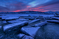 Icy Hot Sunset (Adam's Attempt (at a good photo)) Tags: pink sunset lake snow mountains hot cold ice clouds frozen utah nikon colorful d90 iceformations icyhotsunset