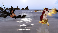Caspian and Lorelei discussing (dagmar haiku) Tags: life city mer beach saint lost cola sl monica angels secondlife second cape mermaid merman merfolk cityoflostangels