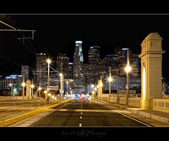 The Other Side (Tony DeSantis Photography) Tags: california street morning bridge building night canon buildings lights la losangeles cityscape streetlights sidewalk socal nik southerncalifornia middle 1ds 1dsmarkii 1ststreet 24105l colorefex topazadjust tonydesantisphotography topazinfocus