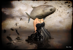 Both Fish and Fowl (Alles Klaar) Tags: sky woman fish water beauty clouds ink reflections necklace dress head framed feathers surreal secondlife vignetting textured windlight ourtime filterforge