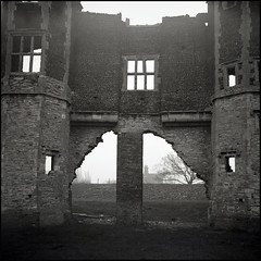 Torksey Castle Frontage (tatraskoda) Tags: old uk england bw building castle history 120 6x6 tlr film monument monochrome rural mediumformat geotagged mono blackwhite lomo ancient ruins village lincolnshire lubitel2 analogue ilford fp4 listed ebb twinlensreflex grade1 torksey commiecamera