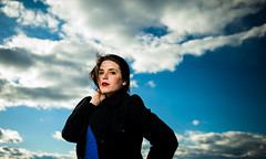Jessica against the sky (Chris Hayden Photo) Tags: portrait sky clouds wind jessica coat brunette p
