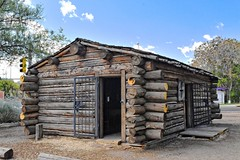 Billy the Kid Homesite in oldtown Silver City, New Mexico (goodhike) Tags: new city house newmexico silver mexico kid log cabin henry billy nm outlaw gunfighter silvercity mccarty loghouse billythekid henrymccarty