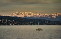 Sunset on Lake Zurich, Switzerland (swissukue) Tags: sunset mountain lake me water landscape switzerland boat flickr sony zurich explore a7 flickrexploreme ilce7