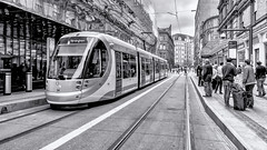 Tram (Mac McCreery) Tags: blackandwhite lines metro tram trainstation grandcentral birminghamuk stephensonstreet sigma1770dcmacro pentaxk5iis