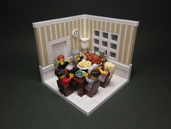Let Us Give Thanks! (Walter Benson) Tags: thanksgiving city family november autumn food holiday fall architecture feast dinner turkey pie table happy togetherness town cozy holidays lego interior bricks tan scene mashedpotatoes plastic indoors diningroom meal heartwarming dining inside vignette interiordesign snot diorama minifigure 2011 minifigures toysnbricks snotwall