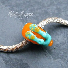 """Celadon and Orange Bunny Silver Cored Bead • <a style=""""font-size:0.8em;"""" href=""""https://www.flickr.com/photos/37516896@N05/6418490763/"""" target=""""_blank"""">View on Flickr</a>"""