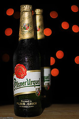 Pilsner & Bokeh Background (Leon Ritchie) Tags: life light cold green water beer canon photography 50mm gold lights bottle still republic czech bottles bokeh background flash tripod condensation cz guide product technique liquid plzen ruff tutorial pivo tutorials pilsnerurquell 50d leonritchie