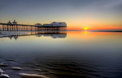 watering hole on sea (gobayode photography...times) Tags: seascape reflections pier pub wateringhole southpier northpier sunsetcolours naturecolours pieratsunset blackpoolpiers lancashireseascapes bplblackpool pierbluehour pubonsea restaurantonsea
