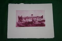 Grabado con imagen de Lanzarote Nov11 (lanzarote rural) Tags: lanzarote papel tinta artesanía milana grabado cochineal cochinilla naturaldye carmín tintenatural