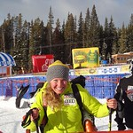 Sarah Freeman , after her first WC downhill race in Lake Louise