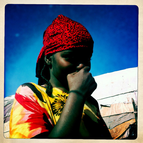 Red Scarf Portrait Of Young Girl In Baligubadle  thru Iphone Hipstamatic - Somaliland