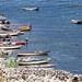 Fila di barche sul lago Titicaca peruviano
