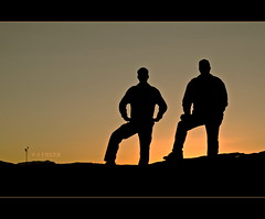 The Captains in the Fading Light (S_Freer) Tags: family sunset 2 two men beach mike silhouette les evening nikon rocks husband 47 stepson d7000 {sfreer} 111in2011