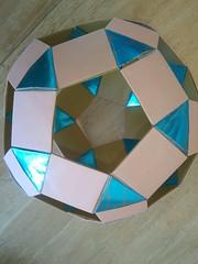 Rhombicosidodecahedron- K5-Galaxy core (Origami Tatsujin 折り紙) Tags: blue art colors gold shiny geometry prism cupola papiroflexia papercrafts polyhedra modularorigami tomokofuse bluegold rhombicosidodecahedron geometricbeauty geometricart antiprism tetrahedralsymmetry beautifulorigami squareflatunit k5galaxystewarttoroid papercraftssquareflatunit kunikokasahara triangleflatunit regularhexagonalunit