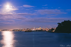 Moonlight and the Bay [Explored] (Edwin_Abedi) Tags: sanfrancisco fortpoint norcal bay city longexposure film slide