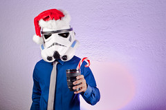 A Classy Toast to the Imperial Holidays (AnthonyMikeLee) Tags: sanfrancisco santa christmas ca blue selfportrait shirt silver lens happy star george costume holidays seasons candy cosplay space helmet tie lucas galaxy canes mug stormtrooper imperial l planets wars vader deathstar strobist post52 wellblowupyourfreakinplanet