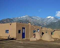 Taos Pueblo (Ken'sKam) Tags: mountains pueblo nativeamerican ladder taos bluedoor taospueblo ovens adobeovens bluewindowns taosladder taosovens