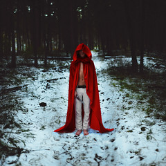 Not so little (Brad.Wagner) Tags: trees red snow fairytale forest knife revenge hood cloak littleredriddinghood