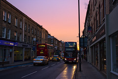 Colourful Sky (fotosiris) Tags: morning winter england sky bus london colors sunrise canon eos dawn colours britain kitlens colourful battersea peckham 345 550d