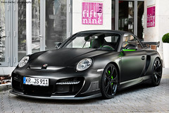 madness Porsche (Keno Zache) Tags: street black green car power turbo r porsche gt rims dsseldorf cabrio matte spoiler 997 sportcar tuned techart bodykit