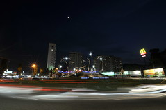 Gurney Drive Roundabout - Long Exposure (eternal_ag0ny) Tags: light moon colors car night drive moving nikon long exposure roundabout tokina trail malaysia penang gurney 1116mm d300s
