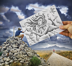 Pencil vs Camera - 61 (Ben Heine) Tags: santiago sky woman mountain art love beauty silhouette angel composition paper photography hope graphicdesign sketch spain poem hand arte god drawing path amor mixedmedia surrealism details horizon echo workinprogress creative goddess newyear poetic ro