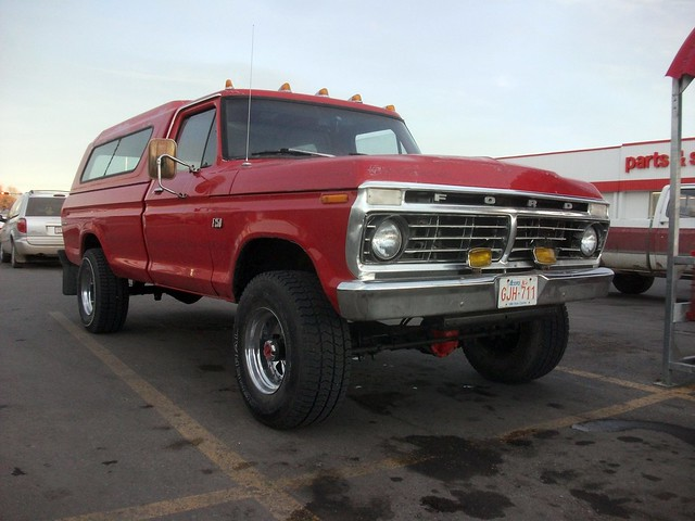 red ford truck 1974 4x4 pickup 1975 70s 1973 f250